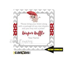"""Diaper Raffle Tickets 3x3"""" -  Elephant Baby Shower Printable. Printable for Elephant Baby Shower Invitation BS 162 (4.99 USD) by 800Canvas"""