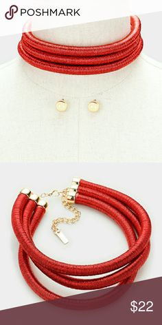 Chocker Red and gold choker noriescloset Jewelry Necklaces