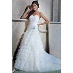 A-line Sweetheart Neckline Beading Organza Wedding Dress - Jer Wedding, #aline, #wedding, #dress, #bridal