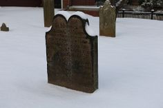 One of our many tombstones in the snow.