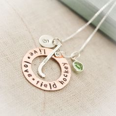 Field Hockey Charm Necklace Copper Washer and by TracyTayanDesigns