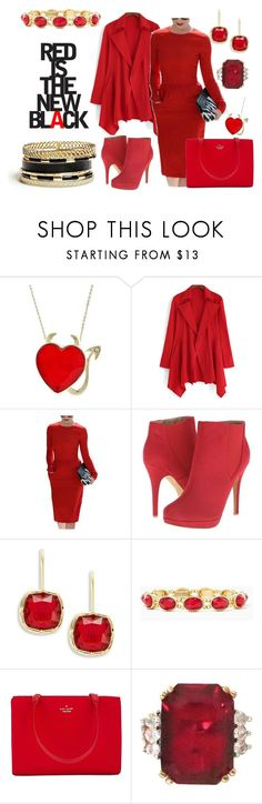 """Red is the New Black"" by the-empress-of-the-south ❤ liked on Polyvore featuring Michael Antonio, Lauren Ralph Lauren, Kate Spade, GUESS and jexshop"