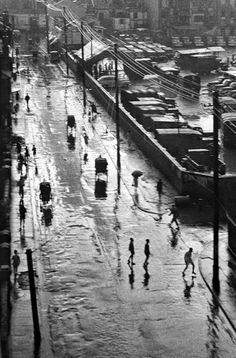 Uma rua de Xangai em 1945.