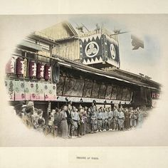 """A photo of a theater in Osaka from Kusakabe Kimbei's collection of 19th century photos of Japan  #KusakabeKimbei #日下部金兵衛 #yokohama #edo #tokyo #江戸 #東京 #歴史…"""