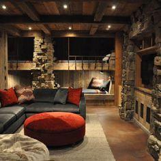 Cool gameroom. Love the built-in bunk beds