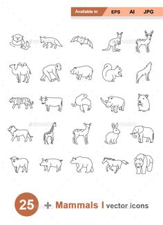 Mammals I Outlines #vector icons - #Animals #Characters Download here: https://graphicriver.net/item/mammals-i-outlines-vector-icons/19550717?ref=alena994