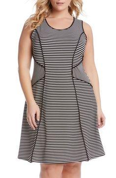 b59204f3fa1de Karen Kane Contrast Binding Stripe A-Line Dress (Plus Size) available at