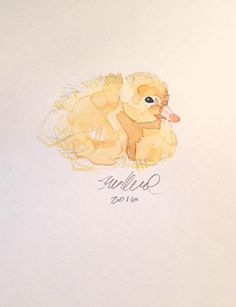 Contemporary Resting Duckling Watercolor Painting on Chairish.com