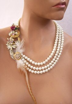 Wedding Pearls and Feathers  Necklace Second by secondlookjewelry, $185.00