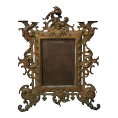 Beautiful late 19th century brass picture frame. This piece is French in Origin and features an ornamented body reminiscent of the Victorian Rococo period.  Has an attractive patina due to age. Perfect for photos. Victorian Picture Frames, Victorian Frame, Gothic Pictures, Victorian Pictures, Most Romantic Pics, French Rococo, 19th Century, Brass, Interior Design