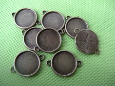 16mm Pendant trays or earring bezel trays charm connector, photo frame, Blank Pendant Trays with Two Hole - Pendant blanks wholesale - 50pcs on Etsy, $11.95