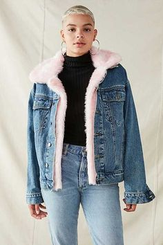 476e02637052c ASOS Denim Jacket With Rips And Detachable Faux Fur Collar | Sec ...