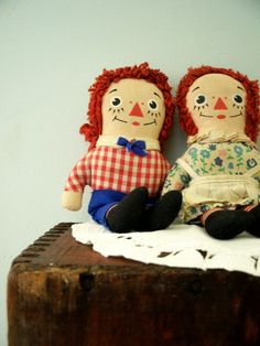 Vintage Raggedy Ann and Andy 1970s Dolls by VintageBroad on Etsy, $12.00