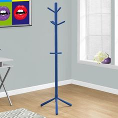Monarch Specialties Inc. Wood Style Contemporary Coat Rack Finish: Blue