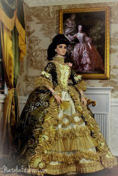 Madame de Pompadour Rococo dress for Tonner and FR16 dolls ./...47.2.18 qw