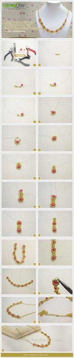 Making Beaded Flowers Necklace Pattern with Simple Weave Stitch Technique