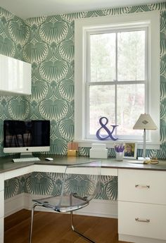 Suzie: Liz Caan Interiors - L shaped desk, Ikea Tobias Chair and green wallpaper.