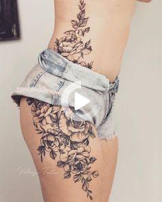 Tattoo Ideas, Tattoo for Guys, Geometric Tattoo, Thigh Tattoo, Tatto . Flower Hip Tattoos, Hip Thigh Tattoos, Side Hip Tattoos, Lower Belly Tattoos, Floral Thigh Tattoos, Side Thigh Tattoos Women, Tattoo Floral, Side Of Thigh Tattoo, Flower Side Tattoos Women
