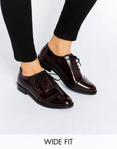 ASOS MAKEUP Wide fit Leather Brogues. Brown Flat ShoesBrown ...
