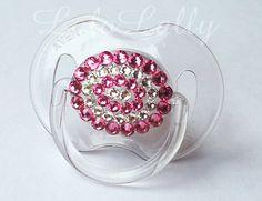 Baby Bling Rose and Diamond Swarovski Crystal Rhinestone Avent 0-6 Month Pacifier / Binky. $17.00, via Etsy.