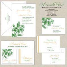 Wedding Invitation Emerald Clover design in by paperimpressions, $280.00