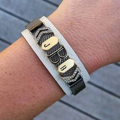 Black mesh bracelet with cuff/initials KEEP https://www.keep-collective.com/with/tinamorrison