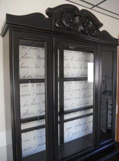 DIY French Script Hutch. I like the appearance of script in the background…
