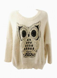 Off-White Owl Knit Sweater with Sequin Detail on Wanelo