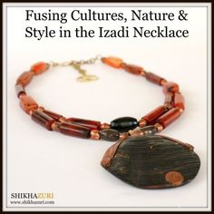 The Sudanese are incredibly creative and talented when it comes to adornment; this pendant is a recycled tortoise shell which has been decorated with copper wire that has been intricately inlaid into the shell. Fiery African agate stone provides a lovely contrast together with copper albow beads from Ethiopia.