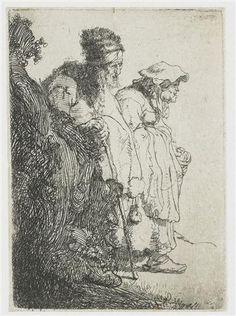 Beggar man and woman behind a bank - Rembrandt