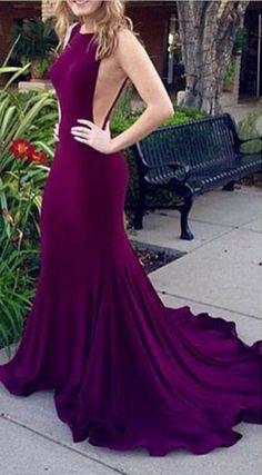 Purple Sleeveless Mermaid Chiffon Long Prom Dress cbb41024cdc6