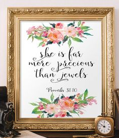 Bible verse Proverbs 31:10 nursery wall art by TwoBrushesDesigns #nurseryart