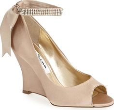 72e9a7b879d4 Nina Women's Shoes in Champagne Satin Color. Twinkling crystals illuminate  the ankle strap of a