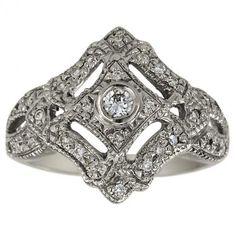 Antique Diamond Filigree And Milgrain 14K Gold Ring