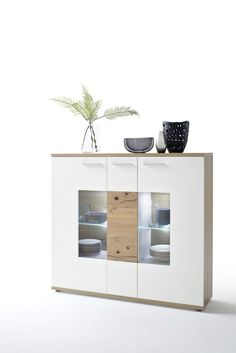 Highboard Weiss Matt/ Crackeiche Woody 41-02579 Holz Modern Jetzt bestellen unter: https://moebel.ladendirekt.de/wohnzimmer/schraenke/highboards/?uid=46468528-190f-588b-a6ab-37d76d00ee37&utm_source=pinterest&utm_medium=pin&utm_campaign=boards #highboards #schraenke #wohnzimmer