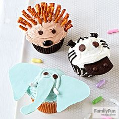 Party Animals: Invite any member of this trio to your next wild rumpus: a zoo or safari party, say, or a circus-themed gathering. Assembling the chocolate-eyed creatures is a piece of cake!