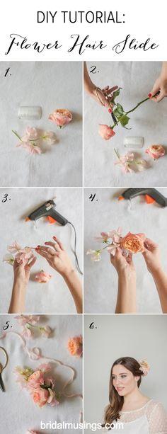 Bridal Musings DIY Flower Hair Slide Tutorial