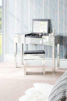 Mirrored Vanity Dressing Table Flip Top Mirror Modern Desk Bed Room  Furniture