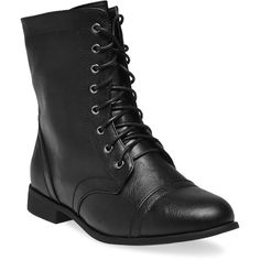 Lace-Up Combat Boots - Wide Width ($5) ❤ liked on Polyvore featuring shoes, boots, ankle booties, black, footwear, black military boots, army boots, black combat boots, black lace-up boots and black booties