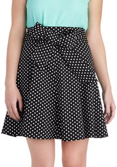 Musee d'Art Moderne Skirt in Black, #ModClothAdmire the contemporary collections in your favorite French museum while wearing this masterpiece of a skirt! Inky black and decorated in pointillist white polka dots, this sashed, A-line look appeals to your classic, feminine fashion sense and flair for bold, contemporary chic. Compose the perfect outfit by wearing a turtle-necked tank, heeled booties, and a futuristic cuff bracelet. Exhibit your unique aesthetic with this skirt