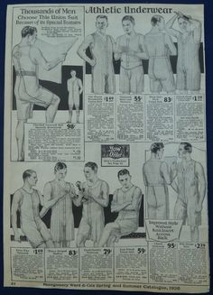 Underwear for Men Original 1926 Montgomery Ward catalog