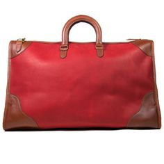 Large sea bag in classic red and whiskey leather