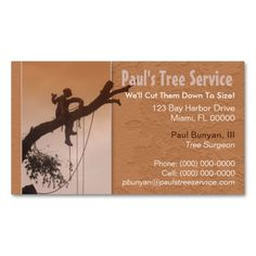Tree Service Business Card. Make your own business card with this great design. All you need is to add your info to this template. Click the image to try it out!