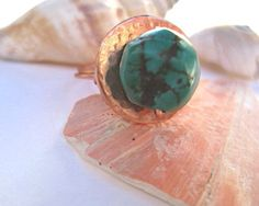 Turquoise ring hammered copper cocktail ring by SunshineDaydreamz