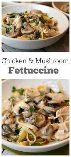 Chicken and Mushroom Fettuccine Recipe - RecipeGirl.com