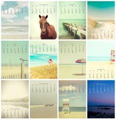 2014 Desk Calendar photography calendar Christmas beach by bomobob, $22.00