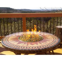 Traditional Fire Pit Outdoor Fire Pits by Sundance Southwest: Traditional Fire Pit-Handcrafted mosaic granites-Fire Glass insert Garden Fire Pit, Fire Pit Backyard, Backyard Camping, Fire Pit Landscaping, Landscaping Ideas, Garden Landscaping, Fire Pit Plans, Fire Pit Swings, Fire Pit Cooking