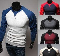 New Men's Fashion Casual Shirts Slim Fit Crew-neck Long Sleeve Tops Tee T-shirt T-shirt Raglan, Pullover, Raglan Shirts, Cotton Shirts, Polo Shirts, Mode Man, New Mens Fashion, Men's Fashion, Fashion Photo