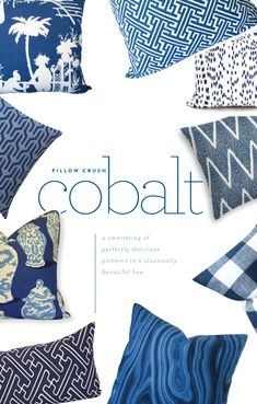 Color crush: cobalt pillows in a variety of patterns and textures - Dana Gibson - Lacefield - Serena & Lily - www.pencilshavingsstudio.com