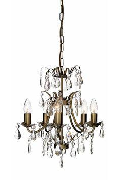 Prismat lasia. Runko kiiltävää tai antiikkiväristä metallia. K 48 cm. Ø 45 cm. 5xE14. Enintään 40 W.
